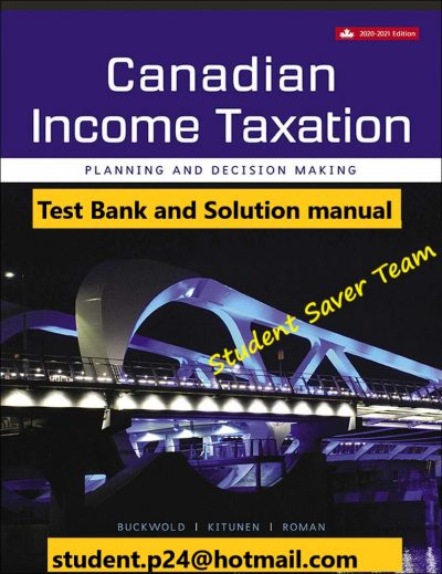 Canadian Income Taxation 2020-2021 23e Bill Buckwold